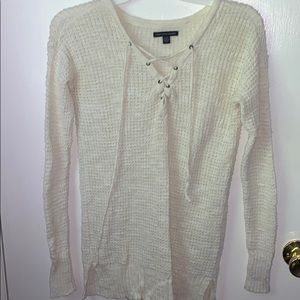 White American Eagle Knitted Long-Sleeve Shirt